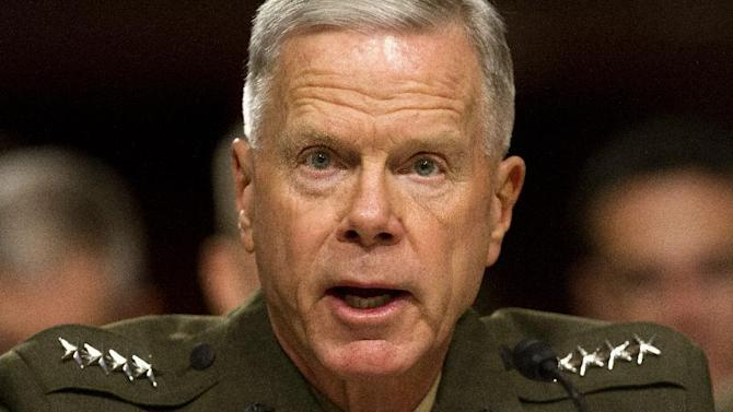 Marine Corps Commandant Gen. James Amos testifies on Capitol Hill in Washington, Thursday, Nov. 7, 2013, before the Senate Armed Service Committee hearing on the impact of sequestration on nation defense. (AP Photo/Jacquelyn Martin)