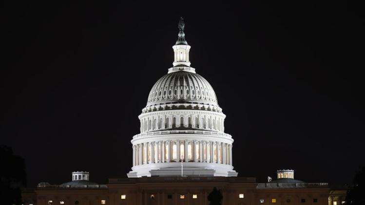 A view of the U.S. Capitol at night, on the eve of a potential federal government shutdown, in Washington