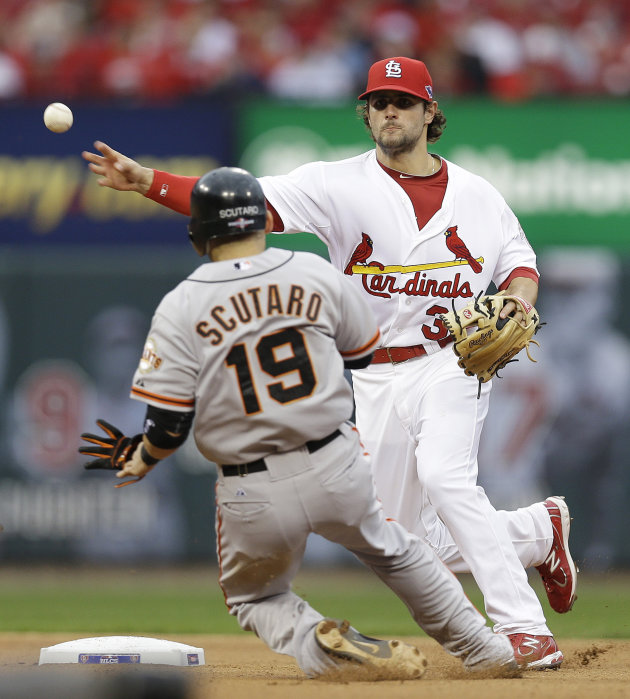 CORRECTS INNING TO FIFTH, NOT FOURTH - St. Louis Cardinals shortstop Pete Kozma (38) throws to first for a double play, taking San Francisco Giants' Marco Scutaro (19) out at second and Pablo Sandoval