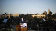 U.S. Republican Presidential candidate Mitt Romney delivers foreign policy remarks at Mishkenot Sha'ananim in Jerusalem, July 29, 2012. REUTERS/Jason Reed