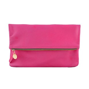 Pink and Orange Foldover Clutch Clare Vivier