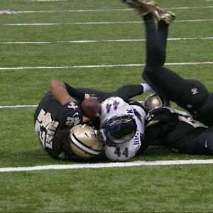 Baltimore Ravens running back Kyle Juszczyk fumbles at 1-yard line