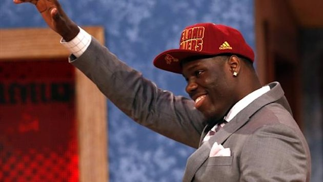 Canadian Anthony Bennett from the University of Nevada, Las Vegas (UNLV) reacts after being selected by the Cleveland Cavaliers as the first overall pick in the 2013 NBA Draft (Reuters)
