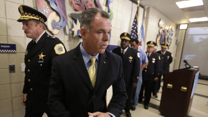 Chicago Police Superintendent Garry McCarthy speaks during a news conference Monday, July 8, 2013, in Chicago. McCarthy announced a series of changes to the department's community policing program including using social media and smartphones to help them fight crime in the city. The new efforts let people anonymously send crime tips, along with videos and photos to police, who can then relay them to computers in squad cars responding to calls. The city will also use Twitter to send real-time alerts and updates to residents in three neighborhoods as part of a pilot program. (AP Photo/M. Spencer Green)