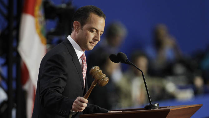 Chairman of the Republican National Committee Reince Priebus gavels the Republican National Convention open in Tampa, Fla., on Monday, Aug. 27, 2012. (AP Photo/Charlie Neibergall)
