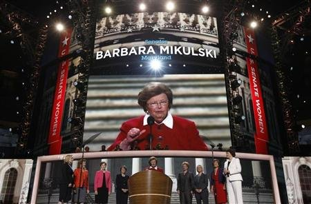 U.S. Senator Barbara Mikulski (D-MD) stands at the podium flanked by eight other Democratic female members of the U.S. Senate during the second session of the Democratic National Convention in Charlotte, North Carolina September 5, 2012. REUTERS/Jim Young