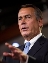 <p>US Speaker of the House Rep. John Boehner addresses the media during a press conference in the US Capitol building in Washington, DC. Boehner, who will be Obama's ultimate opposite number in fiscal cliff negotiations, said Friday that the onus for averting the crisis lay with the president.</p>