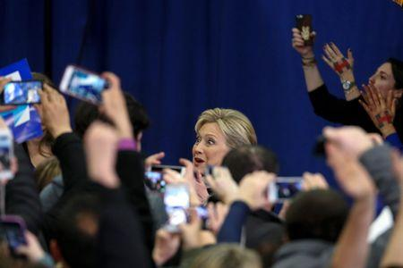 Democratic U.S. presidential candidate Hillary Clinton greets supporters at her final 2016 New Hampshire presidential primary night rally in Hooksett