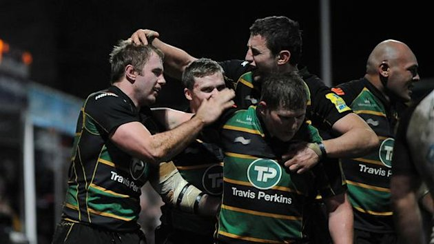 Northampton celebrate scoring a try