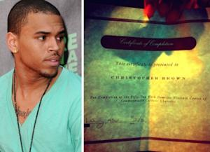 Chris Brown (left), Chris Brown's certificate of completion for a domestic violence program (right) -- Chris Brown/Twitpic