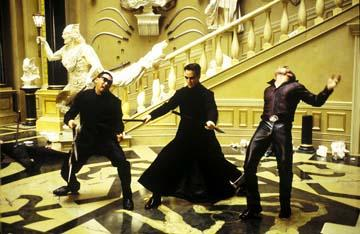 Marcus Young , Keanu Reeves and Ousaun Elam in Warner Brothers' The Matrix: Reloaded