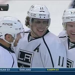Anze Kopitar chips it past Robin Lehner