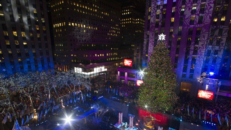 The tree is seen during the 81st Annual Rockefeller Center Christmas Tree Lighting Ceremony in New York