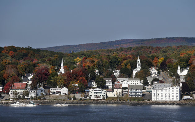 Fall foliage brightens the scene in Bucksport, Maine. (AP Photo/Robert F. Bukaty)