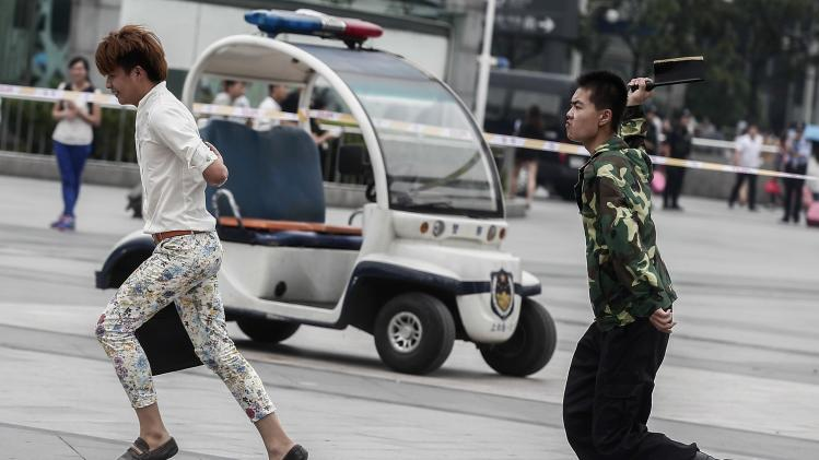 Police take part in an anti-terrorist exercise in Shanghai