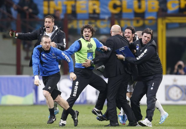 Atalanta's players celebrate their win against Inter Milan at the end of their Italian Serie A soccer match at the San Siro stadium in Milan