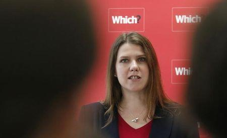 Britain's Minister for Employment Relations and Consumer Affairs Swinson speaks during a news conference about the consumer payday loan market in London