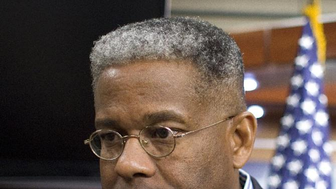 FILE - This Oct. 4, 2011 file photo shows Rep. Allen West, R-Fla. during a news conference on Capitol Hill in Washington. West is still fighting for votes two days after Election Day. But now, he's doing it in the courtroom. West is the tea party idol from South Florida who found himself 2,456 votes behind Democratic rival Patrick Murphy in Tuesday's unofficial tally. (AP Photo/Harry Hamburg, File)