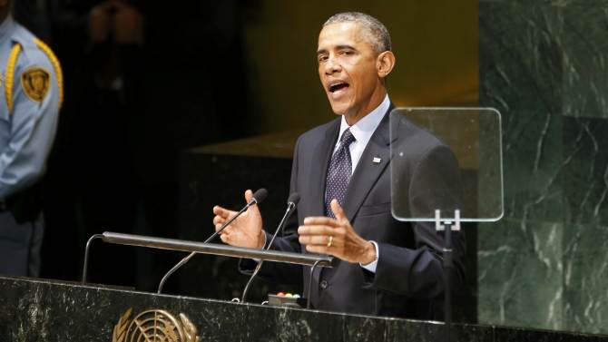 U.S. President Obama speaks during the Climate Summit at United Nations headquarters in New York