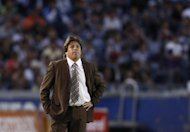Atlante coach Miguel Herrera looks on during their Mexican league championship soccer match against Monterrey at the Tecnologico stadium in Monterrey November 5, 2011. REUTERS/Tomas Bravo