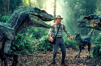 Sam Neill as Dr. Alan Grant encountering a group of raptors in Universal's Jurassic Park 3