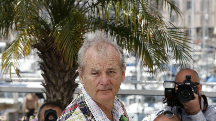 Actor Bill Murray poses during a photo call for Moonrise Kingdom at the 65th international film festival, in Cannes, southern France, Wednesday, May 16, 2012. (AP Photo/Lionel Cironneau)