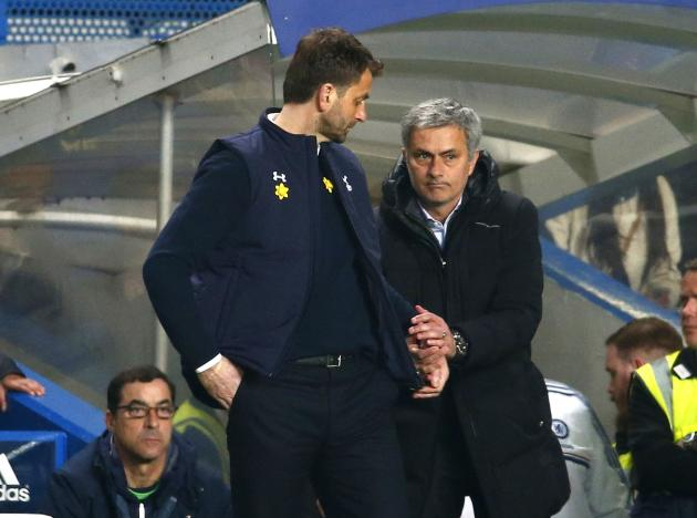 Chelsea manager Mourinho shakes hands with Tottenham Hotspur manager Sherwood after their English Premier League soccer match at Stamford Bridge in London