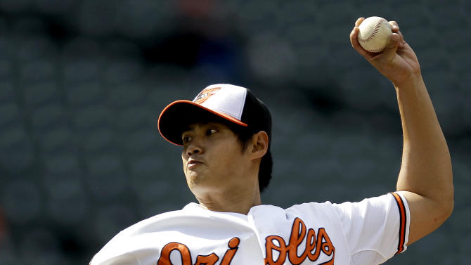 Baltimore Orioles starting pitcher Wei-Yin Chen, of Taiwan, throws to the Texas Rangers in the first inning of the first baseball game of a doubleheader in Baltimore, Thursday, May 10, 2012. (AP Photo/Patrick Semansky)