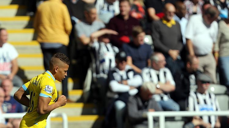 Crystal Palace's Dwight Gayle celebrates his goal during their English Premier League soccer match against Newcastle United at St James' Park, Newcastle, England, Saturday, Aug. 30, 2014. (AP Photo/Scott Heppell)