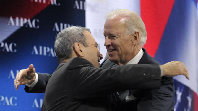 Vice President Joe Biden gets a hug from Israeli Defense Minister Ehud Barak before he addressed the American-Israeli Public Affairs Committee (AIPAC) 2013 Policy Conference, Monday, March 4, 2013, at the Walter E. Washington Convention Center in Washington. (AP Photo/Susan Walsh)