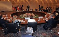 European Union foreign policy chief Catherine Ashton and Iran&#39;s chief negotiator Saeed Jalili attend a meeting in Istanbul. Iran&#39;s media, including outlets close to the leadership, hailed renewed talks with world powers as positive -- and claimed EU governments were now recognising Iran&#39;s atomic &quot;rights&quot;