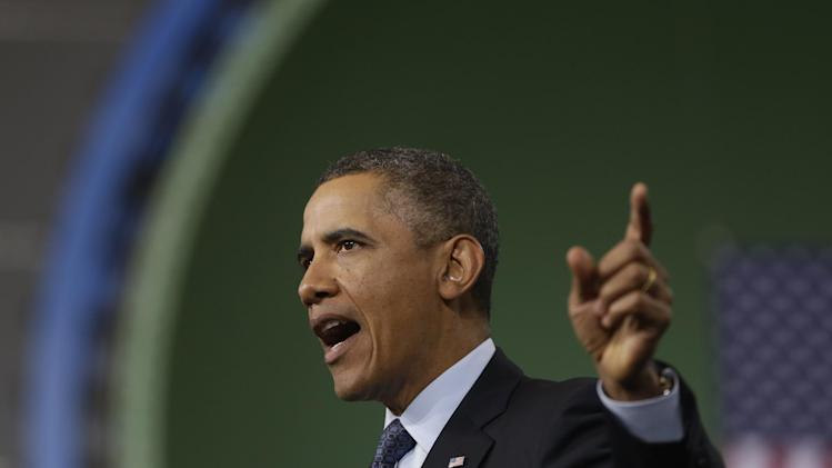 President Barack Obama gestures as he speaks about automatic defense budget cuts during a visit to Newport News Shipbuilding, a division of Huntington Ingalls Industries, Tuesday, Feb. 26, 2013, in Newport News, Va.  (AP Photo/Charles Dharapak)