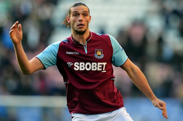 Andy Carroll in action during West Ham United's league match against Wigan at The DW Stadium, on October 27, 2012