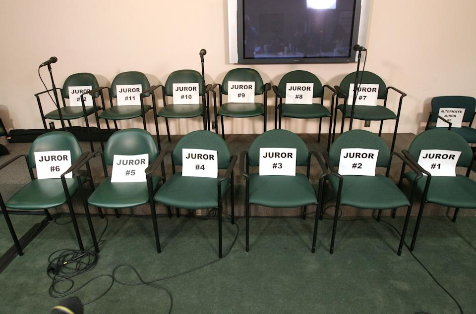 The empty juror chairs in the media room after the jury found Casey Anthony not guilty in her murder trial, at the Orange County Courthouse, in Orlando, Fla., Tuesday, July 5, 2011.  All the jurors, including alternates, declined to attend a news conference after the verdict was read. (AP Photo/Joe Burbank, Pool)