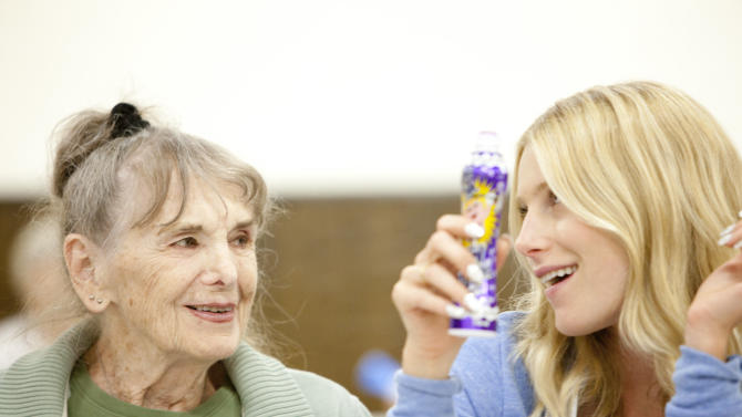 "This film image released by Music Box Films shows Besedka Johnson, left, and Dree Hemingway in a scene from the film ""Starlet.""  Johnson, who became an actress at age 85 and won praise for last year's movie ""Starlet,"" died on April 4 at Glendale Memorial Hospital of complications following surgery for a bacterial infection, her son, Jim Johnson, told the Los Angeles Times. Besedka Johnson played the cranky widow Sadie, who befriends a character played by Dree Hemingway in last year's movie. It was her only role. She was 87. (AP Photo/Music Box Films, Augusta Quirk)"