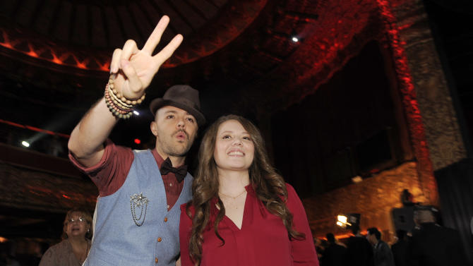 Jesse Huerta, left, and his sister Joy of the Mexican pop duo Jesse & Joy pose together following The XIII Annual Latin Grammy Awards nominations at the Belasco Theater on Tuesday, Sept. 25, 2012, in Los Angeles. The show will be held on Nov. 15 in Las Vegas. (Photo by Chris Pizzello/Invision/AP)