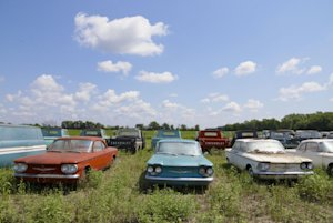In this Aug. 12, 2013 photo, rare Corvairs and pickup …
