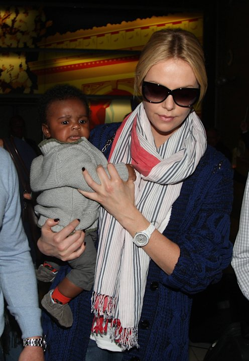 Charlize Theron and her son Jackson arrive at Charles de Gaulle airportParis, France - 08.05.12 **Available for publication in the UK & USA only. Not for publication in the rest of the world** Mandato