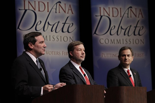 Candidates for Indiana&#39;s U.S. Senate seat Democrat Joe Donnelly, left, Libertarian Andrew Horning, center, and Republican Richard Mourdock participate in a debate in New Albany, Ind., Tuesday, Oct. 23, 2012. (AP Photo/Michael Conroy)