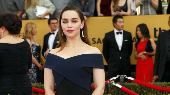 Emilia Clarke arrives at the 21st annual Screen Actors Guild Awards in Los Angeles