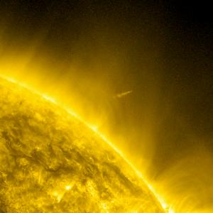 This handout image provided by NASA's Solar Dynamics Observatory, taken, Thursday, Dec. 15, 2011, shows the Comet Lovejoy leaving the sun's corona which is several million degrees. A small comet survived what astronomers figured would be a sure death when it danced uncomfortably close to the broiling sun Thursday night. Comet Lovejoy, which was only discovered a couple of weeks ago, was supposed to melt as it came so close to the sun that the temperatures around it would hit several million degrees. Astronomers had tracked 2,000 other sun-grazing comets make the same suicidal trip. None had ever survived. (AP Photo/NASA's Solar Dynamics Observatory)