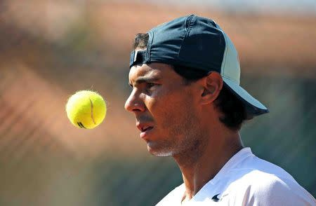 Rafael Nadal of Spain attends a training session at the Monte Carlo Masters in Monaco