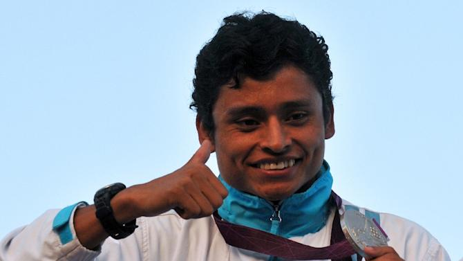 Guatemalan silver medalist Erick Barrondo arrives in Guatemala City from the London 2012 Olympic Games, on August 13, 2012