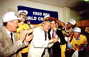 Jerry Buss won 10 NBA championships as owner of the Lakers, including the 1985 title. (Getty Images)