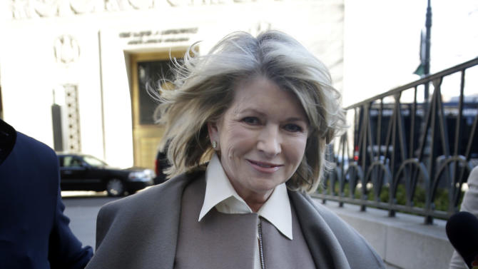 Martha Stewart arrives at New York State Supreme Court in New York, Tuesday, March 5, 2013. Stewart, 71, is scheduled to take the stand Tuesday in a legal battle between two of the nation's largest retailers — Macy's Inc. and J.C. Penney Co. Macy's sued the media and merchandising company Stewart founded for breaching an exclusive contract when she signed a deal with Penney in December 2011 to open shops at most of its stores this spring. (AP Photo/Seth Wenig)