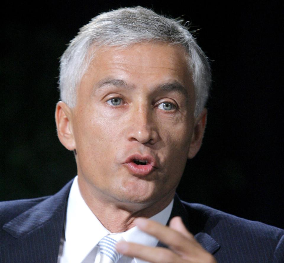 "FILE - In this April 24, 2006 file photo, Jorge Ramos speaks in Las Vegas. Just a month after Forbes Magazine recognized the Hispanic television market as ""the next media jackpot,"" some are complaining that Hispanic media aren't getting a fair share of attention from the political realm.  (AP Photo/Jae C. Hong, File)"
