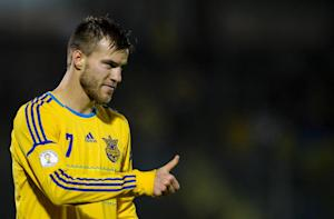 Ukraine's Andriy Yarmolenko celebrates after scoring …