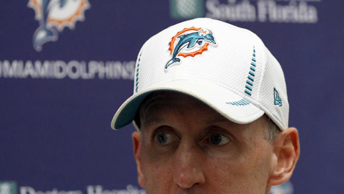 Miami Dolphins head coach Joe Philbin talks to reporters during a news conference after NFL football training camp in Davie, Fla., Monday, Aug. 13, 2012.  (AP Photo/Alan Diaz)