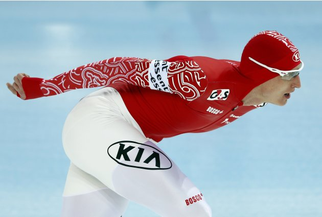 Skobrev of Russia competes during the men's 5000m event at the Essent ISU World Single Distances Championships 2013 in Sochi