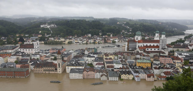 A general view shows the flooded center of Passau, southern Germany, on Monday, June 3, 2013. Raging waters from three rivers have flooded large parts of the southeast German city following days of he